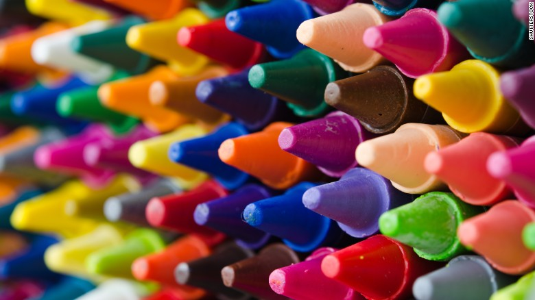 different colour crayons